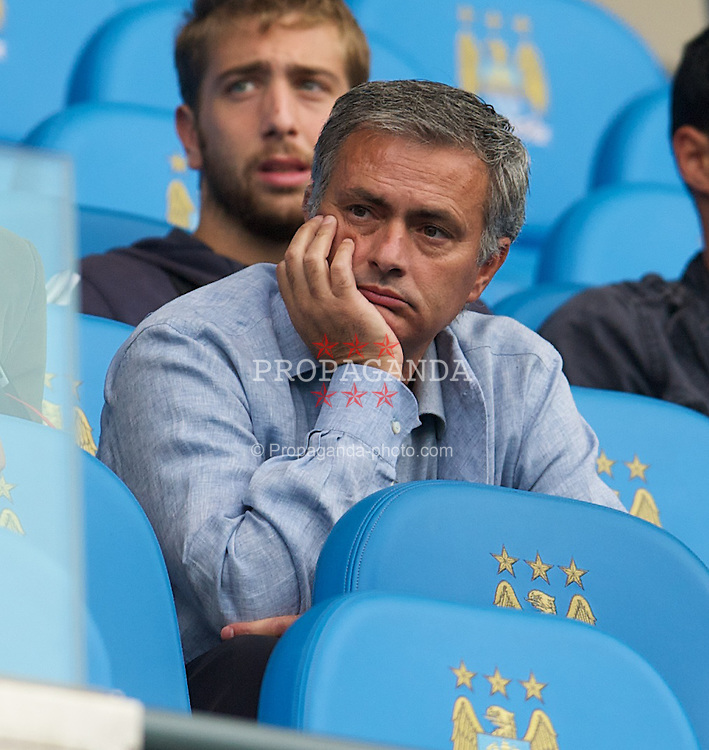 MANCHESTER, ENGLAND - Saturday, September 1, 2012: Real Madrid head coach Jose Mourinho watches Manchester City take on Queens Park Rangers during the Premiership match at the City of Manchester Stadium. (Pic by David Rawcliffe/Propaganda)