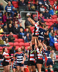 Bristol Ladies and Gloucester-Hartpury Women compete in line-out in front of a large crowd at Ashton Gate Stadium - Mandatory by-line: Paul Knight/JMP - 07/10/2017 - RUGBY - Ashton Gate Stadium - Bristol, England - Bristol Ladies v Gloucester-Hartpury Women - Tyrrells Premier 15s
