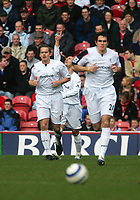 Photo: Andrew Unwin.<br /> Middlesbrough v Bolton Wanderers. The Barclays Premiership. 26/03/2006.<br /> Bolton's Stelios (C) celebrates his goal.