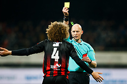 (L-R) Wout Faes of Excelsior, referee Siemen Mulder during the Dutch Eredivisie match between sbv Excelsior Rotterdam and ADO Den Haag at Van Donge & De Roo stadium on March 16, 2018 in Rotterdam, The Netherlands