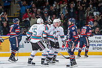 KELOWNA, CANADA - MARCH 25: Lucas Johansen #7 of Kelowna Rockets celebrates the first goal of the game against the Kamloops Blazers on March 25, 2016 at Prospera Place in Kelowna, British Columbia, Canada.  (Photo by Marissa Baecker/Shoot the Breeze)  *** Local Caption *** Lucas Johansen;