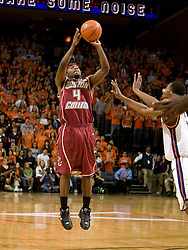 Boston College guard Tyrese Rice (4) shoots a jump shot against Virginia.  The Virginia Cavaliers men's basketball team defeated the Boston College Golden Eagles 84-66 at the John Paul Jones Arena in Charlottesville, VA on January 19, 2008.