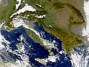 Satellite image of Italy and the Balkans