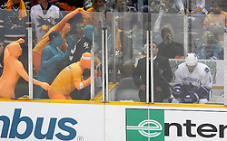 May 20, 2011; San Jose, CA, USA; San Jose Sharks fans attempt to distract Vancouver Canucks defenseman Christian Ehrhoff (5) in the penalty box during the first period of game three of the western conference finals of the 2011 Stanley Cup playoffs at HP Pavilion. Mandatory Credit: Jason O. Watson / US PRESSWIRE