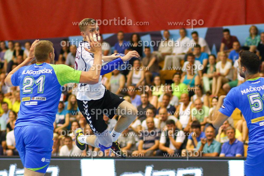 Girts Lilienfelds of Latvia during handball match between National Teams of Slovenia and Latvia in Qualification of 2016 Men's European Championship, on June 13th, in Rdeca Dvorana, Velenje. Photo by Morgan Kristan / Sportida