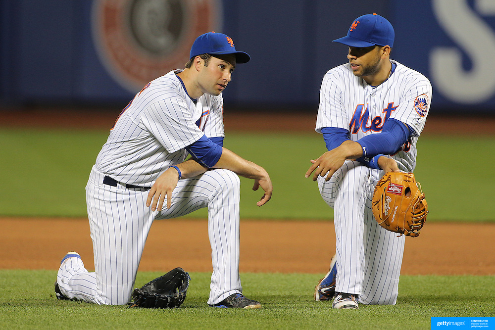 NEW YORK, NEW YORK - July 08: Neil Walker #20 of the New York Mets and James Loney #28 of the New York Mets during the Washington Nationals Vs New York Mets regular season MLB game at Citi Field on July 08, 2016 in New York City. (Photo by Tim Clayton/Corbis via Getty Images)