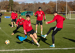 CARDIFF, WALES - Monday, November 18, 2019: Wales' Tom Lockyer and Ryan Hedges during a training session at the Vale Resort ahead of the final UEFA Euro 2020 Qualifying Group E match against Hungary. (Pic by David Rawcliffe/Propaganda)
