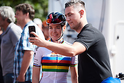 Anna van der Breggen (NED) poses for a selfie at Boels Ladies Tour 2019 - Stage 1, a 123 km road race from Stramproy to Weert, Netherlands on September 4, 2019. Photo by Sean Robinson/velofocus.com