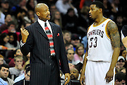 March 6, 2011; Cleveland, OH, USA; Cleveland Cavaliers head coach Byron Scott talks with Cleveland Cavaliers shooting guard Alonzo Gee (33) during the third quarter against the New Orleans Hornets at Quicken Loans Arena. Mandatory Credit: Jason Miller-US PRESSWIRE
