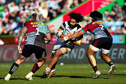 Chris Vui of Bristol Bears is takes on Elia Elia and Joe Marler of Harlequins - Mandatory by-line: Robbie Stephenson/JMP - 23/02/2019 - RUGBY - Twickenham Stoop - London, England - Harlequins v Bristol Bears - Gallagher Premiership Rugby