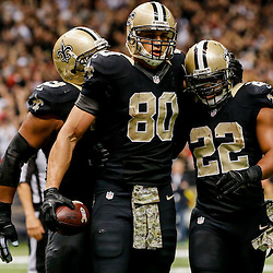 Nov 9, 2014; New Orleans, LA, USA; New Orleans Saints tight end Jimmy Graham (80) celebrates a touchdown with running back Mark Ingram (22) during the third quarter of a game against the San Francisco 49ers at Mercedes-Benz Superdome. Mandatory Credit: Derick E. Hingle-USA TODAY Sports