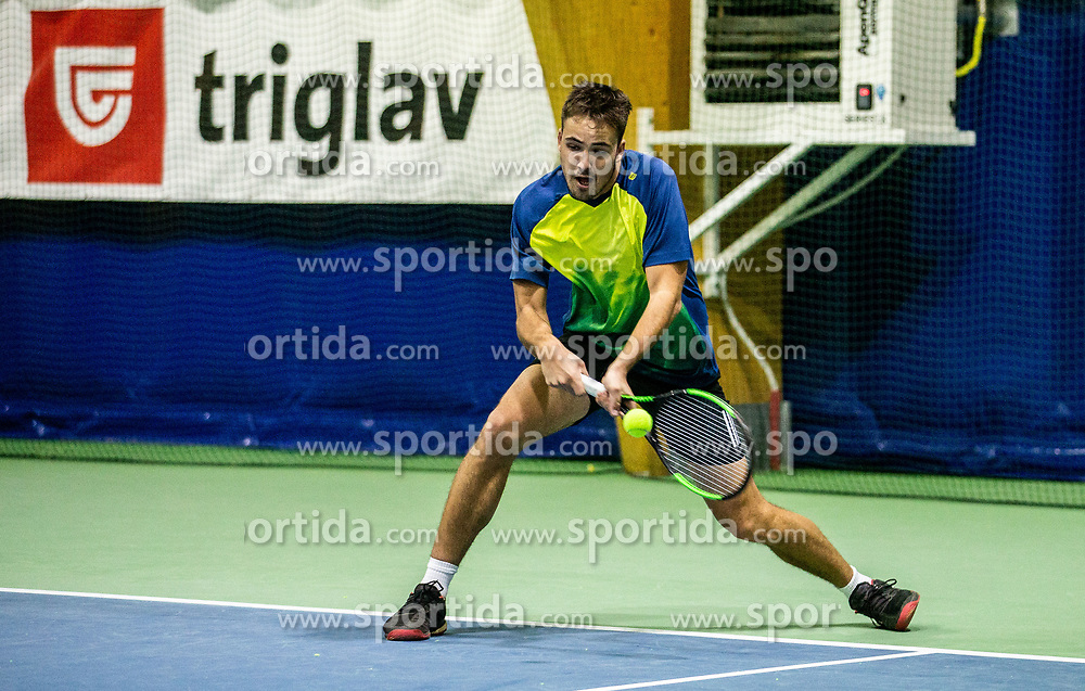Jakob Kaplja playing final match during Slovenian men's doubles tennis Championship 2019, on December 29, 2019 in Medvode, Slovenia. Photo by Vid Ponikvar/ Sportida