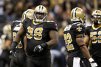 28 November 2011: Defensive tackle (98) Sedrick Ellis of the New Orleans Saints against the New York Giants during the second half of the Saints 49-24 victory over the Giants at the Mercedes-Benz Superdome in New Orleans, LA.