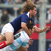 Dimitri Szarzewski, France,tackles Gonzalo Tiesi, Argentina during the Argentina V France test match at Estadio Jose Amalfitani, Buenos Aires,  Argentina. 26th June 2010. Photo Tim Clayton...