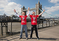 Virgin Money London Marathon 2015<br /> <br /> Photocall featuring the original winners from the first London Marathon in 1981 when the men crossed the line hand in hand to jointly win in a un precedented show of sportsmanship.<br /> <br /> Left to Right<br /> Dick Beardsley<br /> Inge Simonsen<br /> <br /> <br /> <br /> Photo: Bob Martin for Virgin Money London Marathon<br /> <br /> This photograph is supplied free to use by London Marathon/Virgin Money.