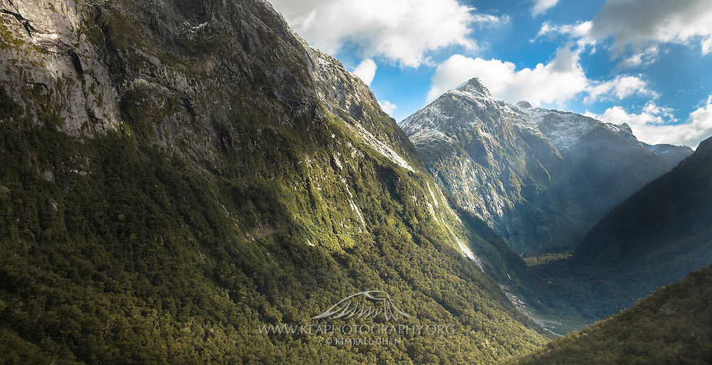 Green Valley is one of many ice-carved valleys in the Southern Alps, along the Milford Track in Fiordland National Park.  The Lady of the Snows (1818m) is off in the distance, with Safe Mountain (the rounded peak) off to the right.  Safe Mountain (1634m) was named by Rhys Buckingham, who completed the first ascent in 1973.