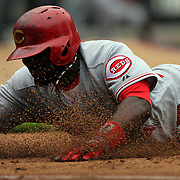 Brandon Phillips, Cincinnati Reds, slides back to first base during the New York Mets V Cincinnati Reds Baseball game at Citi Field, Queens, New York. 22nd May 2012. Photo Tim Clayton