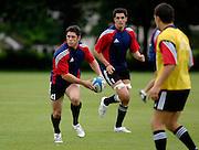 Photo: Richard Lane.<br /> New Zealand Maori training at Rugby School. Barclays Churchill Cup 2007. 21/05/2007.<br /> Maori's Callum Bruce attacks.