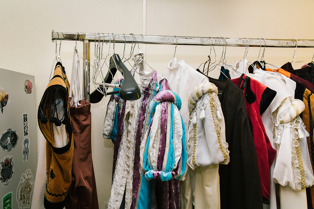 PALERMO, ITALY - 18 FEBRUARY 2018: Costumes used for the ballet &quot;Don Quixote&quot; are seen here in the backstage of the Teatro Massimo during the dress rehearsal, in Palermo, Italy, on February 18th 2018.<br /> <br /> The Teatro Massimo Vittorio Emanuele is an opera house and opera company located  in Palermo, Sicily. It was dedicated to King Victor Emanuel II. It is the biggest in Italy, and one of the largest of Europe (the third after the Op&eacute;ra National de Paris and the K. K. Hof-Opernhaus in Vienna), renowned for its perfect acoustics. It was inaugurated in 1897.