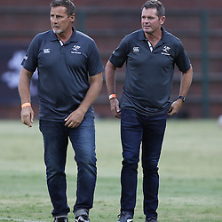 Robert du Preez (Head Coach) of the Cell C Sharks with Sean Everitt (Assistant Coach) of the Cell C Sharks during The Cell C Sharks Pre Season warm up game 2 Cell C Sharks A and Toyota Cheetahs A,at King Zwelithini Stadium, Umlazi, Durban, South Africa. Friday, 3rd February 2017 (Photo by Steve Haag)