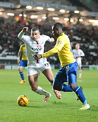 Milton Keynes Dons' Daniel Powell and Coventry City's Franck Moussa challenge for the ball - Photo mandatory by-line: Nigel Pitts-Drake/JMP - Tel: Mobile: 07966 386802 30/11/2013 - SPORT - Football - Milton Keynes - Stadium mk - MK Dons v Coventry City - Sky Bet League One