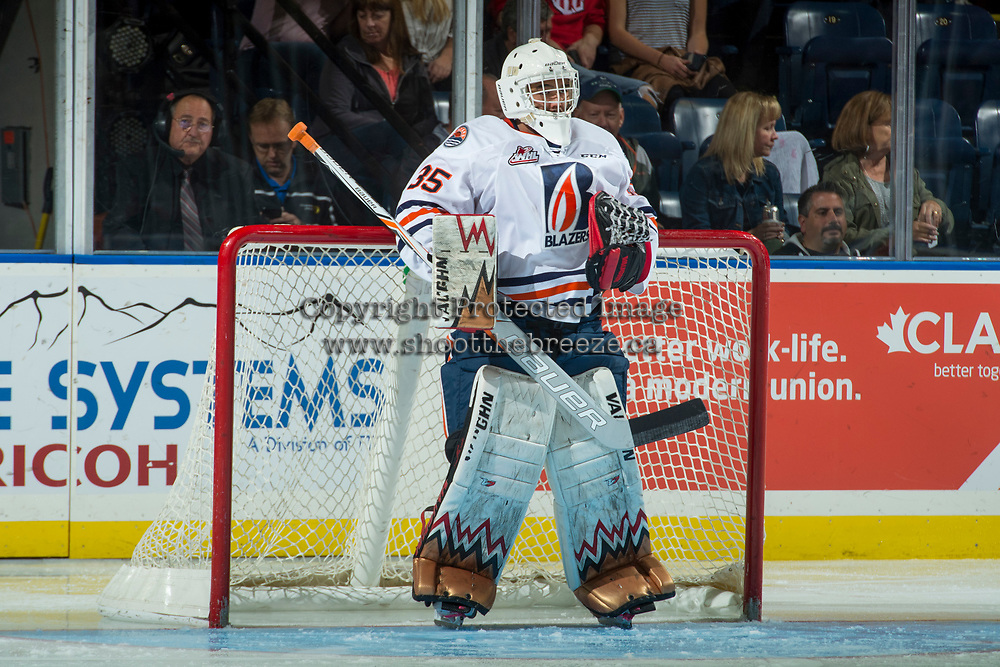 KELOWNA, CANADA - SEPTEMBER 22: Kyle Dumba #35 of the Kamloops Blazers stands in net after a goalie change for third period against the Kelowna Rockets on September 22, 2017 at Prospera Place in Kelowna, British Columbia, Canada.  (Photo by Marissa Baecker/Shoot the Breeze)  *** Local Caption ***