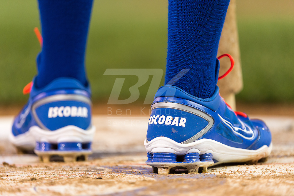A close up view of the shoes of Alcides Escobar #2 of the Kansas City Royals during a game against the Minnesota Twins on June 27, 2013 at Target Field in Minneapolis, Minnesota.  The Twins defeated the Royals 3 to 1.  Photo by Ben Krause