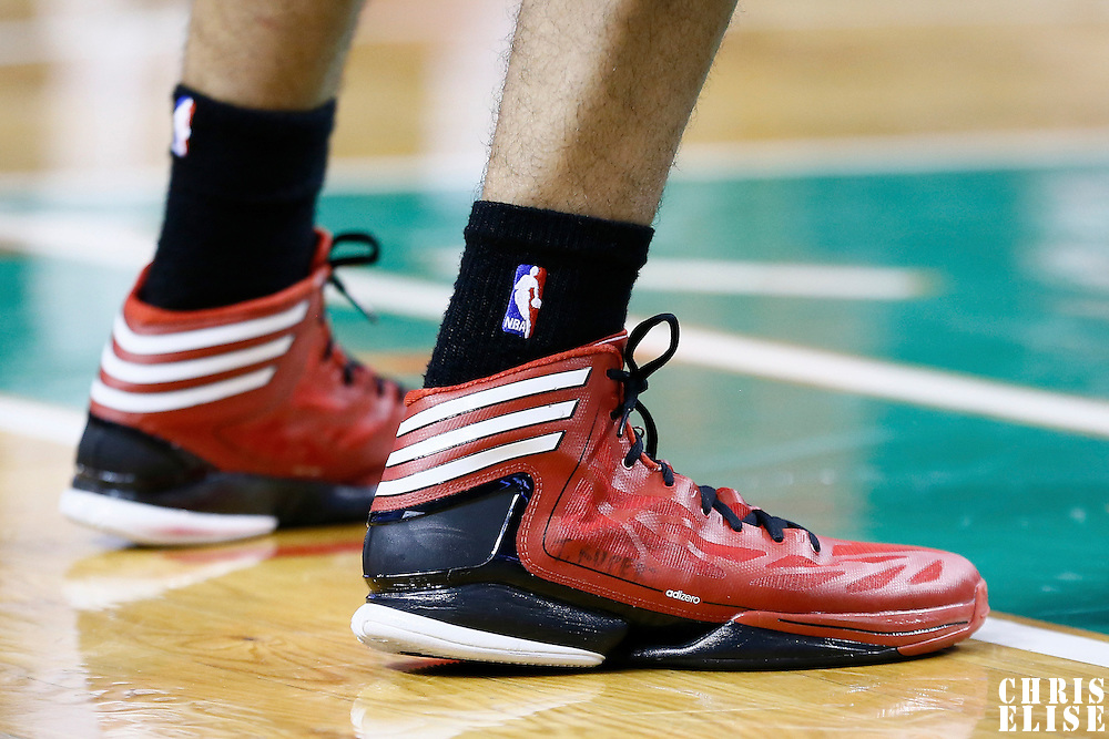 30 November 2012: Close view of Portland Trail Blazers small forward Nicolas Batum (88) sneakers with T. Rupert written on it in honor of a french player in the coma during the Boston Celtics 96-78 victory over the Portland Trail Blazers at the TD Garden, Boston, Massachusetts, USA.