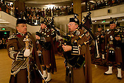 MEMBERS OF LONDON SCOTTISH RIGEIMNT PIPES AND DRUMS. , The Royal Caledonian Ball 2008. In aid of the Royal Caledonian Ball Trust. Grosvenor House. London. 2 May 2008.  *** Local Caption *** -DO NOT ARCHIVE-© Copyright Photograph by Dafydd Jones. 248 Clapham Rd. London SW9 0PZ. Tel 0207 820 0771. www.dafjones.com.