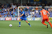 AFC Wimbledon defender George Francomb (7) dribbling during the EFL Sky Bet League 1 match between AFC Wimbledon and Shrewsbury Town at the Cherry Red Records Stadium, Kingston, England on 12 August 2017. Photo by Matthew Redman.