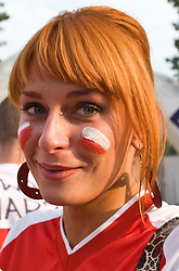 Woman with the Polish flag on the skin outside the arena at the EuroBasket 2009, on September 16, 2009, before Arena Lodz, Hala Sportowa, Lodz, Poland.  (Photo by Vid Ponikvar / Sportida)