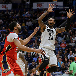 Apr 4, 2018; New Orleans, LA, USA; Memphis Grizzlies guard Ben McLemore (23) loses the ball as New Orleans Pelicans forward Anthony Davis (23) defends during the second quarter at the Smoothie King Center. Mandatory Credit: Derick E. Hingle-USA TODAY Sports