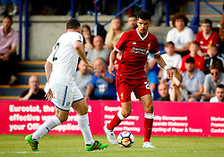 Dominic Solanke of Liverpool takes on Lee Vaughan of Tranmere Rovers - Mandatory by-line: Matt McNulty/JMP - 12/07/2017 - FOOTBALL - Prenton Park - Birkenhead, England - Tranmere Rovers v Liverpool - Pre-season friendly