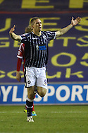 Picture by David Horn/Focus Images Ltd +44 7545 970036<br /> 03/12/2013<br /> Steve Morison of Millwall celebrates scoring his first goal of the game to make it 1-0 during the Sky Bet Championship match at The Den, London.
