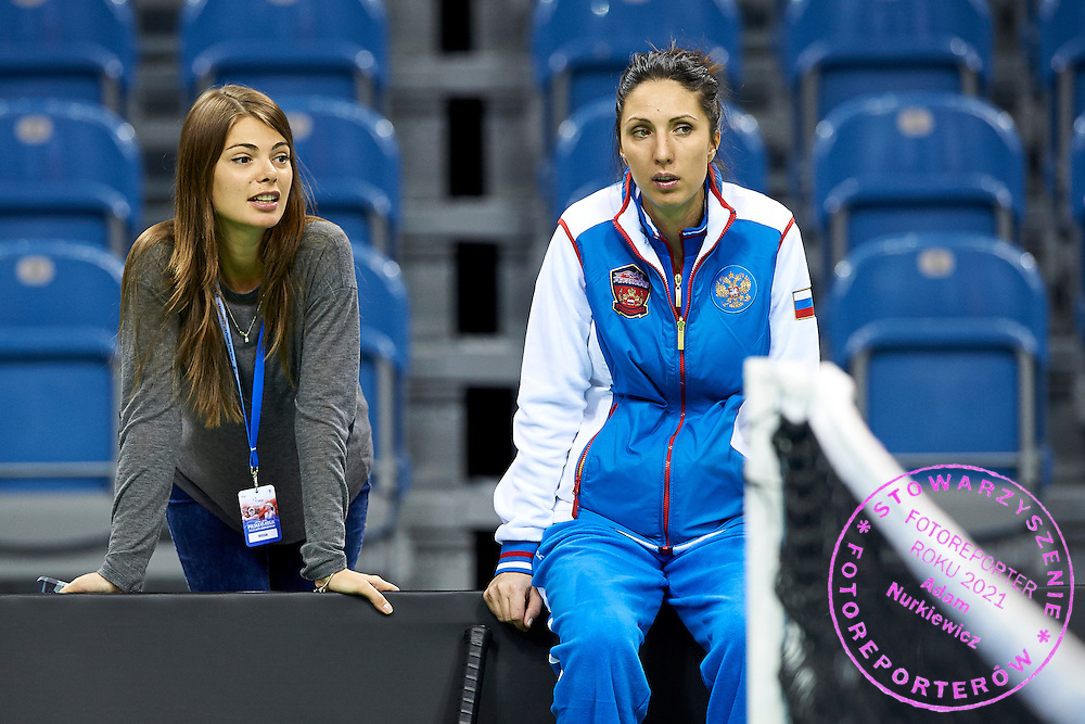 (L) Sofya Tartakova journalist from Russia and (R) trainer coach Anastasia Myskina from Russia during official training session two days before the Fed Cup / World Group 1st round tennis match between Poland and Russia at Krakow Arena on February 5, 2015 in Cracow, Poland.<br /> <br /> Poland, Cracow, February 5, 2015<br /> <br /> Picture also available in RAW (NEF) or TIFF format on special request.<br /> <br /> For editorial use only. Any commercial or promotional use requires permission.<br /> <br /> Adam Nurkiewicz declares that he has no rights to the image of people at the photographs of his authorship.<br /> <br /> Mandatory credit:<br /> Photo by &copy; Adam Nurkiewicz / Mediasport