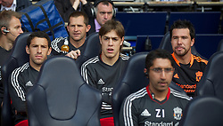 LONDON, ENGLAND - Sunday, September 18, 2011: Liverpool's substitutes Maximiliano Ruben Maxi Rodriguez, Sebastian Coates and goalkeeper Brad Jones sit on the bench before the Premiership match against Tottenham Hotspur at White Hart Lane. (Pic by David Rawcliffe/Propaganda)