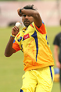 Laxshmipathy Balaji of the Chennai Super Kings sends down a delivery during the Superkings  training session held at St Georges Park in Port Elizabeth on the 17 September 2010..Photo by: Shaun Roy/SPORTZPICS/CLT20