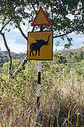 Road sign warning of african elephants, Cecil Kop Nature Reserve, Mutare, Manucaland Province, Zimbabwe