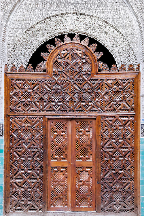 Entrance door of the medersa el-Attarine in Fès, Morocco.