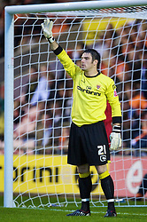 BLACKPOOL, ENGLAND - Wednesday, August 26, 2009: Blackpool's goalkeeper Matthew Gilks in action against Wigan Athletic during the League Cup 2nd Round match at Bloomfield Road. (Photo by David Rawcliffe/Propaganda)