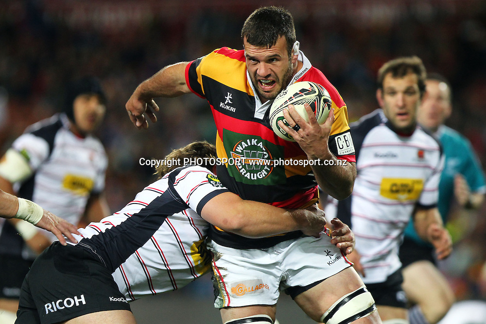 Waikato's Alex Bradley is tackled by Canterbury's Ben Funnell. ITM Cup Final, Waikato v Canterbury at Waikato Stadium, Hamilton, New Zealand. Saturday 3rd September 2011. Photo: Anthony Au-Yeung / photosport.co.nz