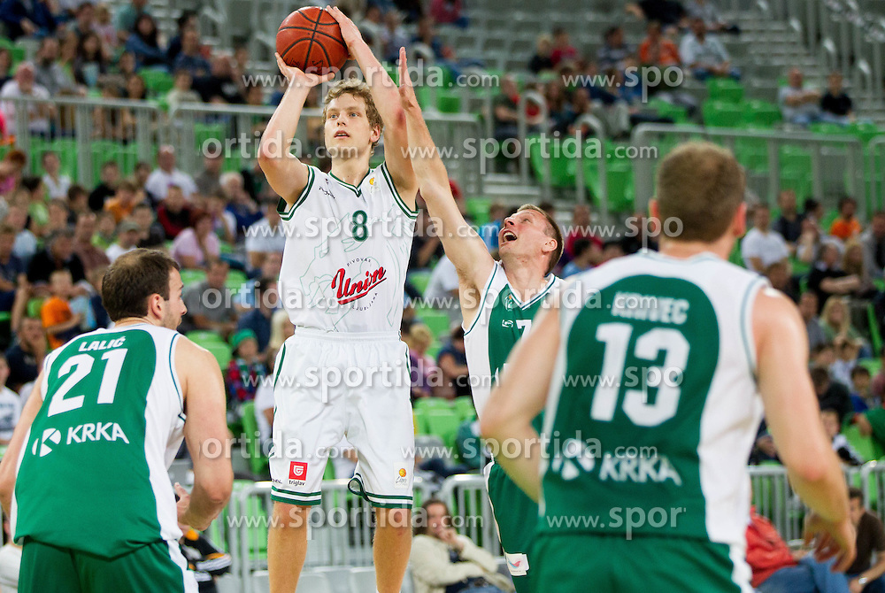 Jaka Blazic of Olimpija vs Simon Petrov of Krka  during basketball match between KK Union Olimpija and KK Krka in 2nd Final match of Telemach Slovenian Champion League 2011/12, on May 20, 2012 in Arena Stozice, Ljubljana, Slovenia. Krka defeated Union Olimpija 75-65. (Photo by Vid Ponikvar / Sportida.com)