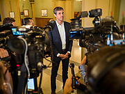 22 AUGUST 2019 - DES MOINES, IOWA: BETO O'ROURKE (D-TX), talks to reporters at a press gaggle after a gun safety roundtable he hosted in the Iowa State Capitol in Des Moines. He is back on the campaign trail seeking the Democratic nomination for the US Presidency after pausing his campaign when a white supremacist massacred 22 people in El Paso, TX, O'Rourke's hometown. Iowa traditionally hosts the first selection event of the presidential election cycle. The Iowa Caucuses are Feb. 3, 2020.       PHOTO BY JACK KURTZ