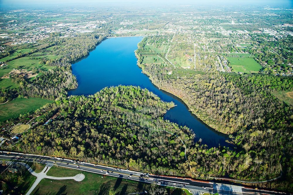 Aerials of Lake Fayetteville, Bentonville, Walmart Head Quarters, University of Arkansas Campus in Arkansas<br /> <br /> © Wesley Hitt 2015