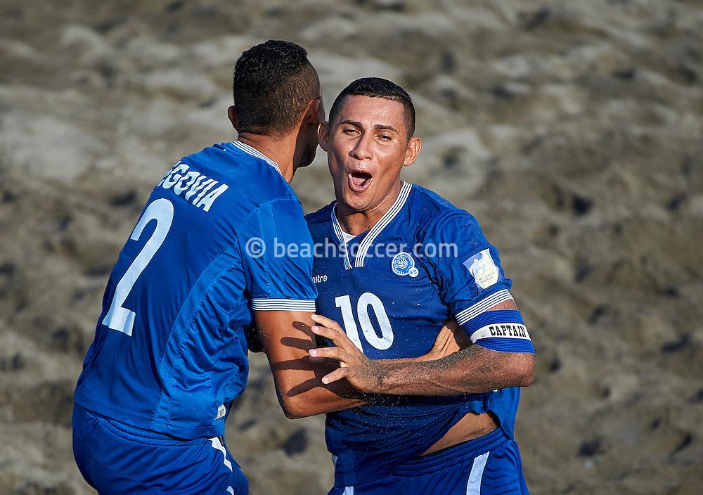 El Salvador team-mates Segovia and Agustin celebrate during the Copa Pilsener 2016.