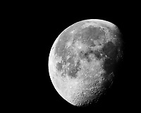 Waning Gibbous Moon. Image taken with a Nikon 1 V2 camera FT1 adapter, 400 mm f/2.8 lens, and 2.0 TC-E adapter (ISO 160, 1000 mm, f/11, 1/100 sec).