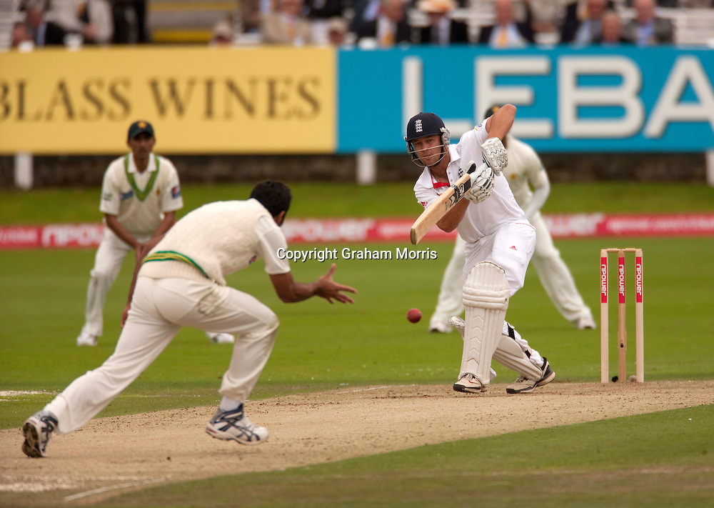 Jonathan Trott off Wahab Riaz during the final npower Test Match between England and Pakistan at Lord's.  Photo: Graham Morris (Tel: +44(0)20 8969 4192 Email: sales@cricketpix.com) 27/08/10