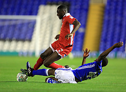 Wes Harding of Birmingham City dives in on Enzio Boldewijn of Crawley Town - Mandatory by-line: Paul Roberts/JMP - 08/08/2017 - FOOTBALL - St Andrew's Stadium - Birmingham, England - Birmingham City v Crawley Town - Carabao Cup