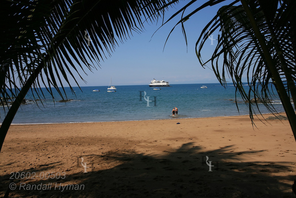 Palm trees frame small cruise ship anchored off Caletas Beach on Pacific Ocean coast of Osa Peninsula near Corcovado National Park; Costa Rica.