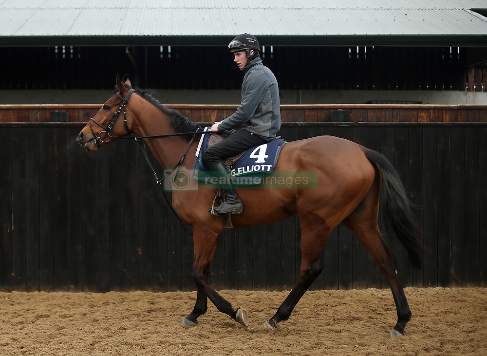 Jack Kennedy on Battleoverdoyen during the stable visit to Gordon Elliott's yard at Cullentra House, County Meath.